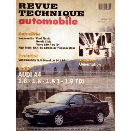 rta revue technique automobile audi a4 type b5 1 6 1 8 1 8t 1 9tdi. Black Bedroom Furniture Sets. Home Design Ideas