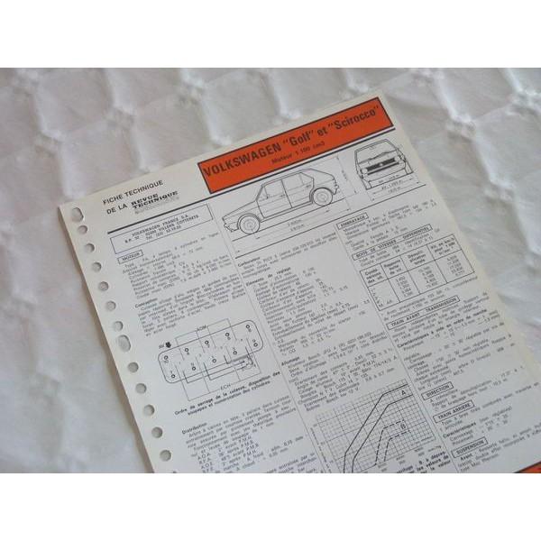 fiche technique volkswagen golf et scirocco 1100 mk1 6cv. Black Bedroom Furniture Sets. Home Design Ideas