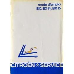 Citroën BX, BX14 et BX16, notice d'entretien