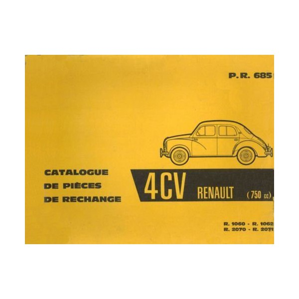 renault 4cv r1060 r1062 r2070 r2071 catalogue de pi ces. Black Bedroom Furniture Sets. Home Design Ideas