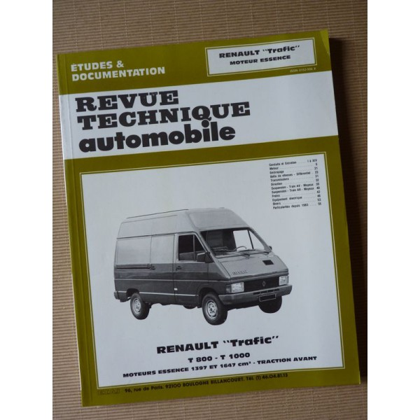 rta revue technique automobile renault trafic t800 t1000 essence. Black Bedroom Furniture Sets. Home Design Ideas