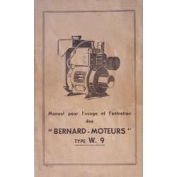 Bernard-Moteurs W9, notice d'entretien