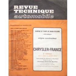 Temps de réparation Chrysler France années 60 et 70 (2ème édition)