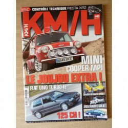 KM/H n°40, Spider Renault Sport, Renault 4cv R1063, Fiat Uno Turbo ie, Lotus Elise 1.8i, Abarth 500, Cooper S, Opel Calibra