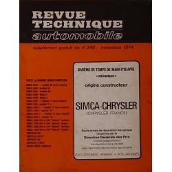 Temps de réparation Simca, Chrysler, Matra années 60 et 70 (1ère édition)