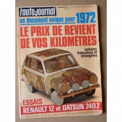 Auto-Journal n°1-72, Datsun 240Z, Renault 12TL, Ligier JS2, Adria 450Q, Alger-Le Cap en Renault 12