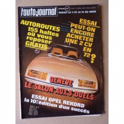 Auto-Journal n°6-72, Opel Rekord D 1.9l, Citroën 2cv4 2cv6, Hispano-Suiza K6, Tabbert 520 Tandem TK, A.J. Foyt