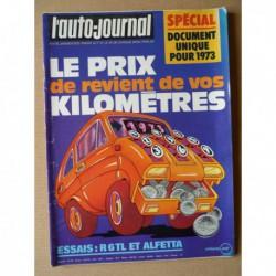 Auto-Journal n°1-73, Alfa Romeo Alfetta 1.8l, Renault 6TL, Tara NSU, Fiat X1/9 1300, Gruau 400 CB Détente