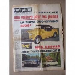 Auto-Journal n°428, Triumph 1300, Jensen Interceptor V8, Siata 850 Sprint, Cournil, Peugeot 204 GT Autobleu