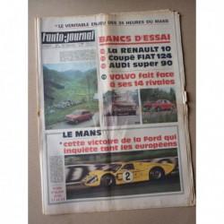 Auto-Journal n°431, Audi Super 90, Volvo 144, Fiat 124 Sport, Renault 10, 24h du Mans 1967