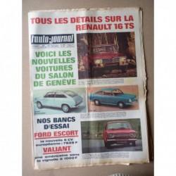 Auto-Journal n°450, Ford Escort 1100, Plymouth Valiant Signet, Vauxhall Viva GT et Brabham, Renault 16TS, Mercedes 300SEL V8
