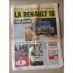 Auto-Journal n°378, Renault 16, Sunbeam Chamois, Georges Irat 6cv, 24h du Mans 1965