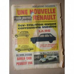 Auto-Journal n°404, Simca 1300 GLS, Peugeot 204 berline, chauffeurs Rolls-Royce, NSU-Citroën Wankel, les crics