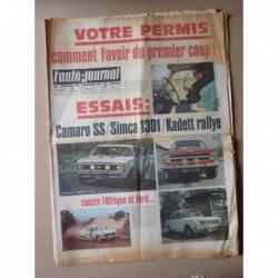 Auto-Journal n°426, Chevrolet Camaro SS V8, Simca 1301 LS, ISO Rivolta Turbofire, Opel Kadett Rallye B, Fournier RF4