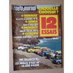 Auto-Journal n°12-76, Citroën 2cv6, CX2000, Peugeot 104GL, 304S, 504TI, Renault 4 Safari, 5L, 6TL, Simca 1100 GLX, 1307S