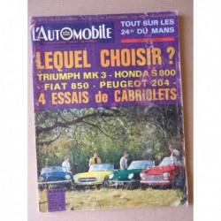 L'Automobile n°254, Fiat 850 cabriolet, Honda S800, Peugeot 204 cab., Triumph Spitfire MK3, Lancia Flavia, Triumph France