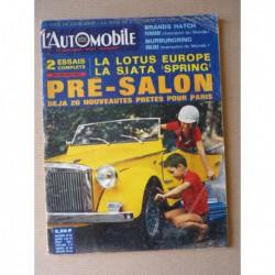 L'Automobile n°257, Lotus Europa, Siata Spring, Fiat Abarth 124 1300, Soichiro Honda, Dagen H