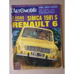 L'Automobile n°271, Renault 6, Simca 1501 Spécial, Peugeot 1892-1924, Graham Hill