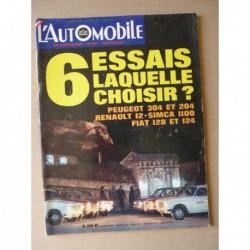 L'Automobile n°284, Citroën M35, Peugeot 304 204GL, Fiat 124 128, R12 TL, Simca 1100, Nicolas-Joseph Cugnot