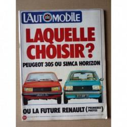 L'Automobile n°378, Porsche 928, Simca Horizon LS-GL-GLS, Peugeot 305 GL-GR-SR, De Dion-Bouton, Honda 250 Twin