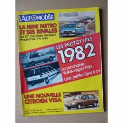 L'Automobile n°418, Austin Mini Metro, Fiat 127 Sport, Ford Fiesta 1300 Ghia, Peugeot 104 ZS, R5 TS, Mercedes T80
