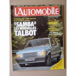 L'Automobile n°425, Lancia Trevi, Ligier JS17, Opel Ascona GL, Audi 80CL, Fiat 131 1400TC, Talbot Solara LS, Peugeot 305GR