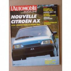 L'Automobile n°480, Honda Civic CRX 16S, Renault 21 TD, Nissan Bluebird Turbo SGX, Ferrari Testarossa, Toyota Land Cruiser