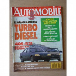 L'Automobile n°501, Peugeot 205 Rallye, Citroën 2cv TPV, Peugeot 405 SRD, Renault 21 Turbo DX, Silver Spur, Cadillac Seville