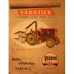 Sabatier Le Pratique L.S., notice d'entretien