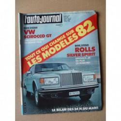 Auto-Journal n°12-81, Rolls Royce Silver Spirit, Volkswagen Scirocco GT, Talbot Tagora GLS, Peugeot 505 STI