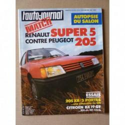 Auto-Journal n°18-84, Peugeot 205 XR, Citroën BX 19 GT, Renault Supercinq GTL, Porsche 928-4
