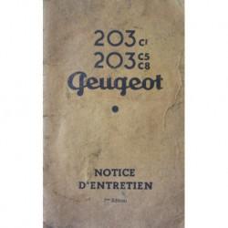 Notice d'entretien Peugeot 203 familiale, commerciale, fourgonnette, camionnette, ambulance