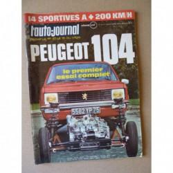Auto-Journal n°19-72, Peugeot 104, Alfa Romeo Montréal, Alpine A310, Citroën SM, De Tomaso Pantera, Ferrari Dino