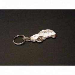 porte-clés émaillé Citroën 2cv, 2cv4, 2cv6, Spécial, Club (blanc)