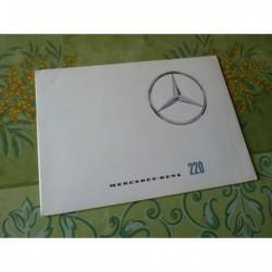 Mercedes 220 w111, catalogue brochure dépliant
