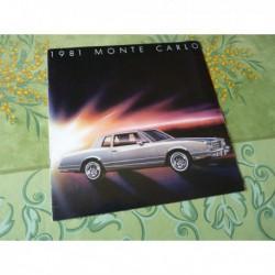 Chevrolet Monte Carlo 1981, catalogue brochure dépliant