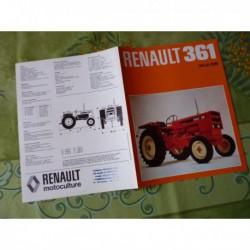 Renault 361, catalogue brochure dépliant tracteur