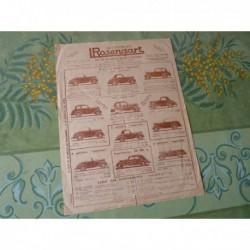 Rosengart, tarifs 1937, Supercinq Supersept, catalogue brochure dépliant