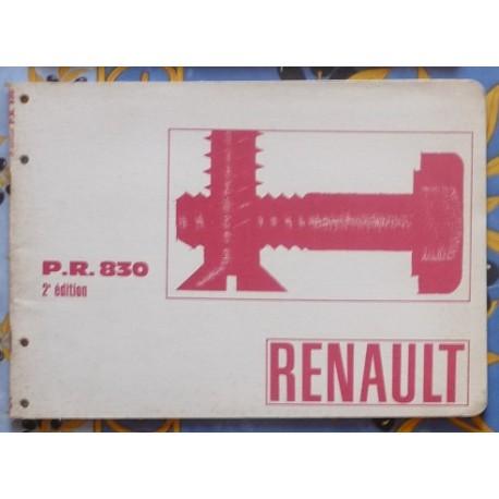Détails sur Renault, boulonnerie normalisée, PR 830, catalogue brochure dépliant