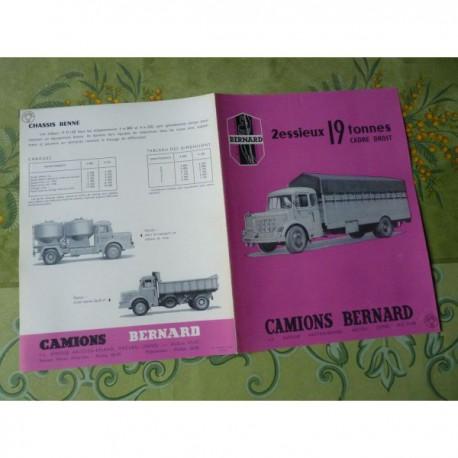 camions Bernard 19T cadre droit 19D150, catalogue brochure