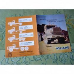 camions Willème 4x2 4x4 6x4 6x6 sables, catalogue brochure