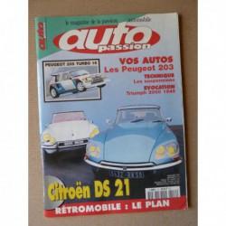 Auto Passion n°112, Citroën DS21, Peugeot 205 Turbo 16, Denis Jenkinson, Vaillante Mystère, Patrick Peter