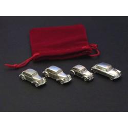 Set 4 miniatures Citroën, en étain poli 1/160e