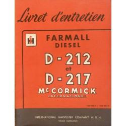 Farmall Diesel D-212 et D-217, notice d'entretien