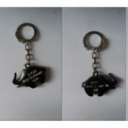 porte-clés café l'éléphant noir, éléphant noir blanc (pc)