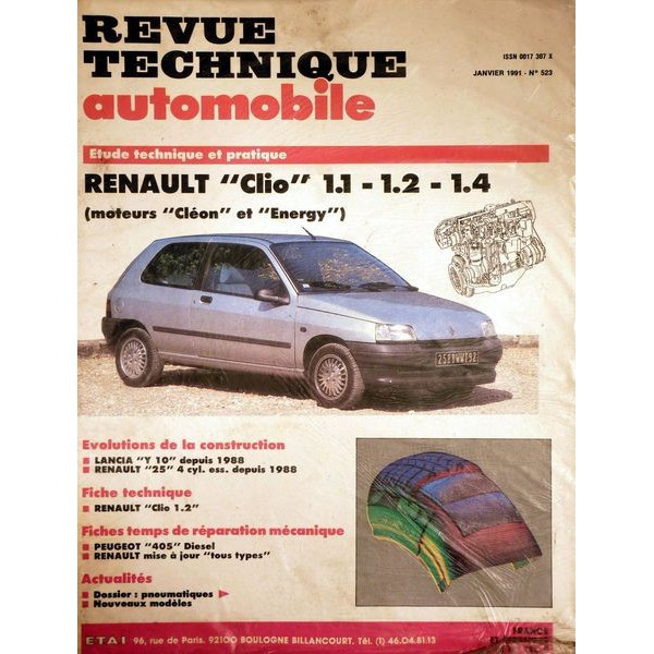 rta revue technique automobile renault clio phase 1 moteurs 1 1l 1 2l 1 4l. Black Bedroom Furniture Sets. Home Design Ideas