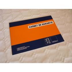 Carnet garantie des Peugeot début années 80