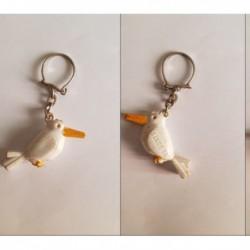 porte-clés Samos 99, oiseau bec fermé, blanc (pc)
