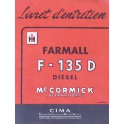 McCormick IH Farmall F-135D, notice d'entretien