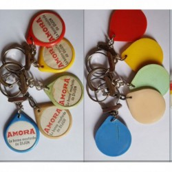 porte-clés la bonne moutarde de Dijon Amora, lot 5 couleurs (pc)